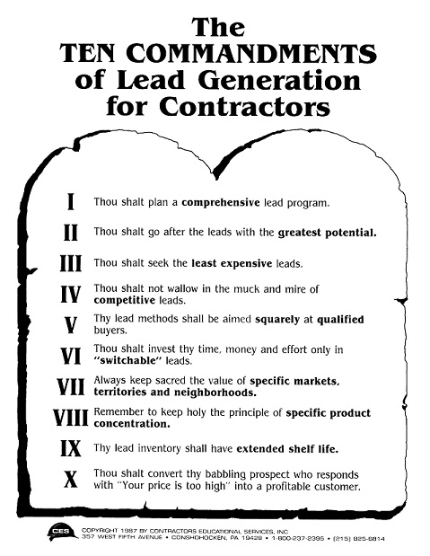 Ten Commandments of Leads